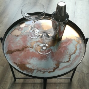 Pink and white resin table